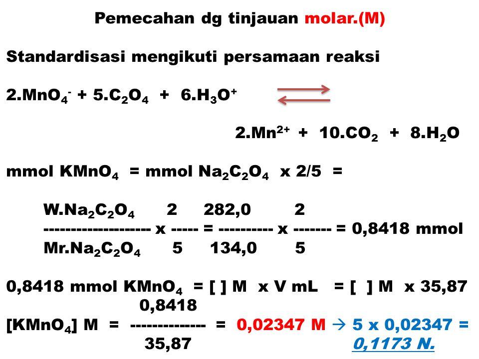 Pemecahan dg tinjauan molar.(M) Standardisasi mengikuti persamaan reaksi 2.MnO 4 - + 5.C 2 O 4 + 6.H 3 O + 2.Mn 2+ + 10.CO 2 + 8.H 2 O mmol KMnO 4 = m