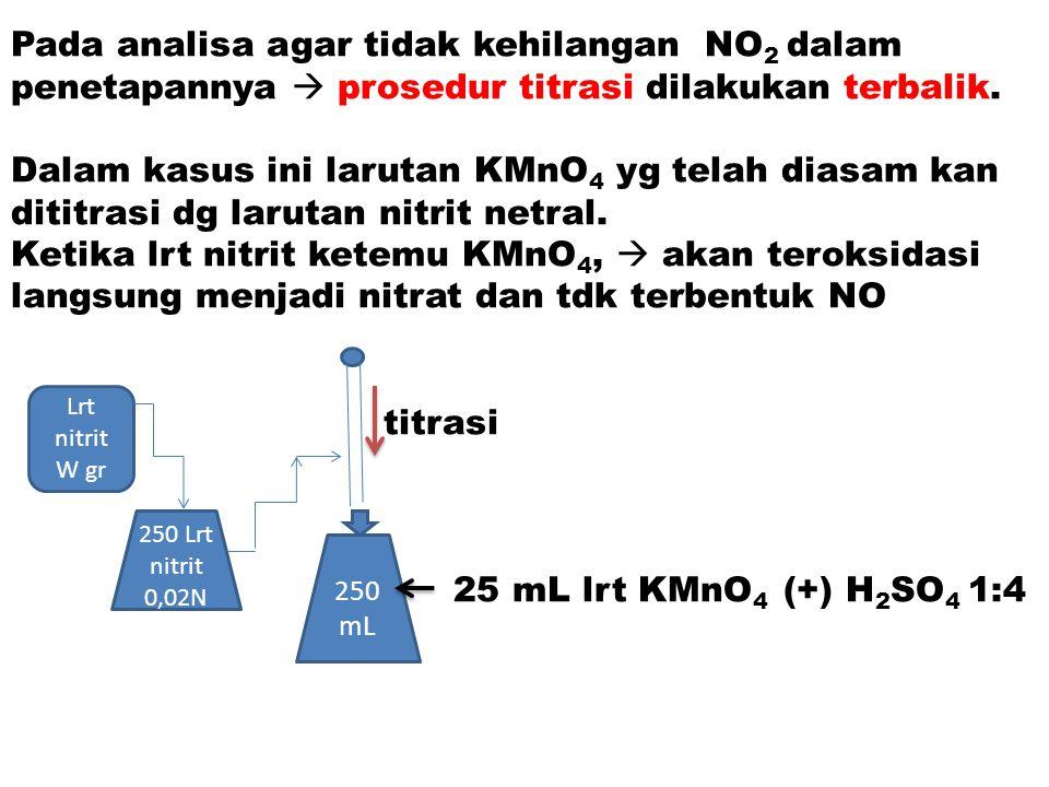 Pada analisa agar tidak kehilangan NO 2 dalam penetapannya  prosedur titrasi dilakukan terbalik. Dalam kasus ini larutan KMnO 4 yg telah diasam kan d