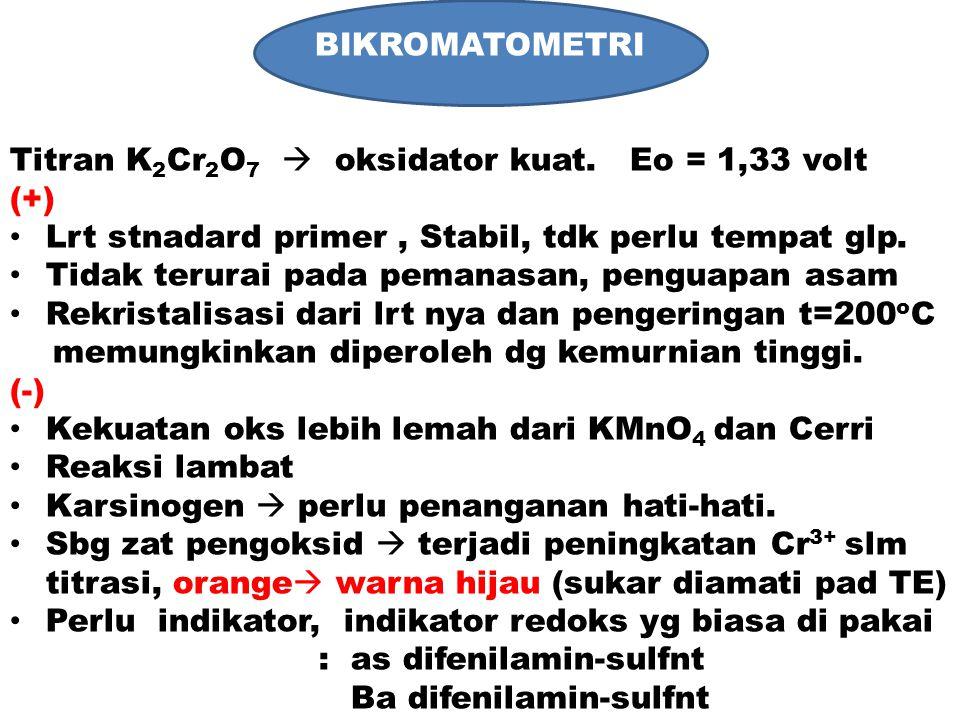 BIKROMATOMETRI Titran K 2 Cr 2 O 7  oksidator kuat. Eo = 1,33 volt (+) Lrt stnadard primer, Stabil, tdk perlu tempat glp. Tidak terurai pada pemanasa