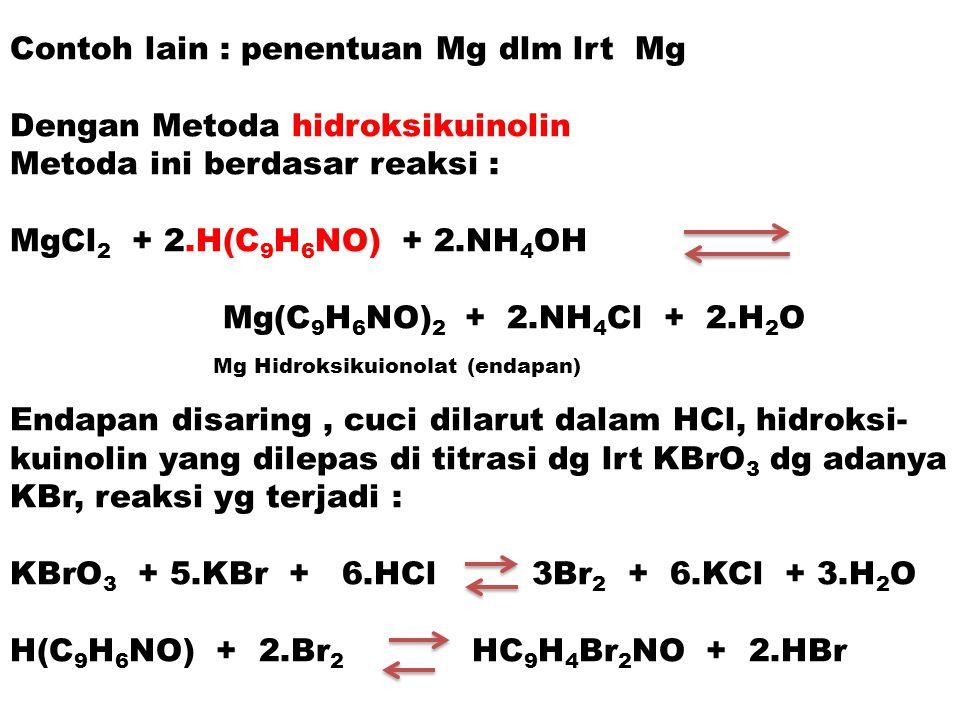 Contoh lain : penentuan Mg dlm lrt Mg Dengan Metoda hidroksikuinolin Metoda ini berdasar reaksi : MgCl 2 + 2.H(C 9 H 6 NO) + 2.NH 4 OH Mg(C 9 H 6 NO)
