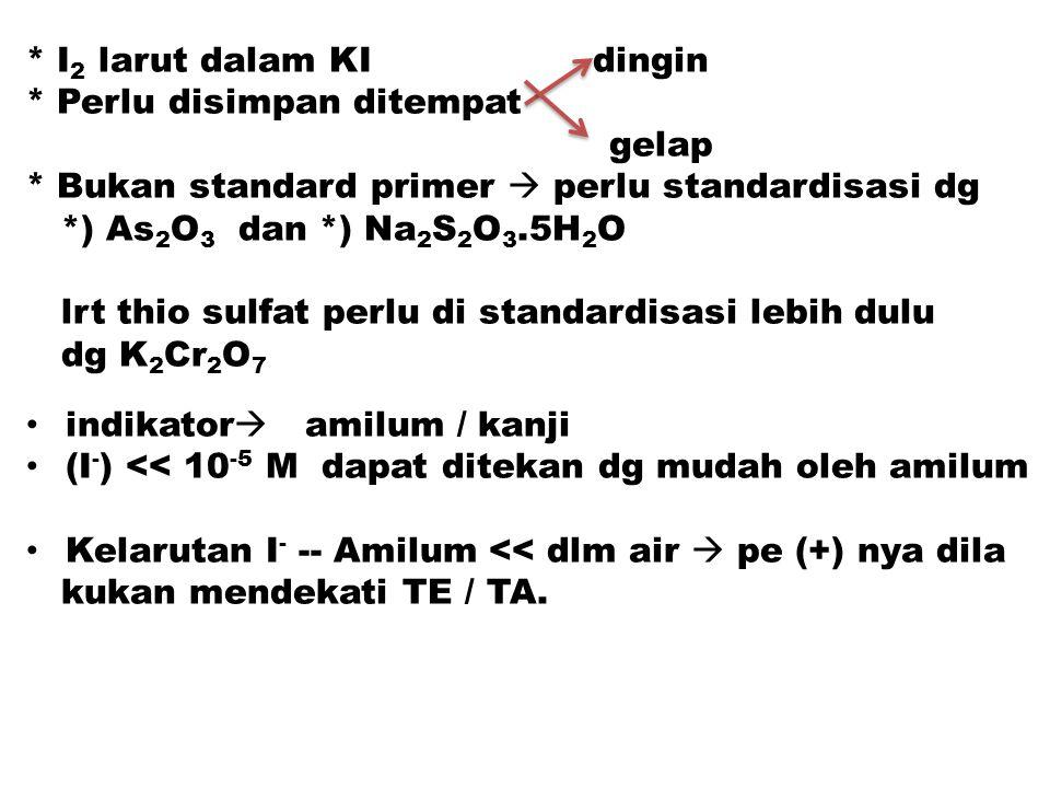 * I 2 larut dalam KI dingin * Perlu disimpan ditempat gelap * Bukan standard primer  perlu standardisasi dg *) As 2 O 3 dan *) Na 2 S 2 O 3.5H 2 O lr