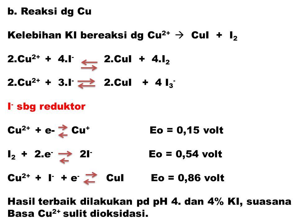 b. Reaksi dg Cu Kelebihan KI bereaksi dg Cu 2+  CuI + I 2 2.Cu 2+ + 4.I - 2.CuI + 4.I 2 2.Cu 2+ + 3.I - 2.CuI + 4 I 3 - I - sbg reduktor Cu 2+ + e- C