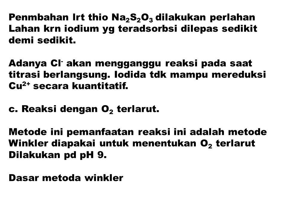 Penmbahan lrt thio Na 2 S 2 O 3 dilakukan perlahan Lahan krn iodium yg teradsorbsi dilepas sedikit demi sedikit. Adanya Cl - akan mengganggu reaksi pa