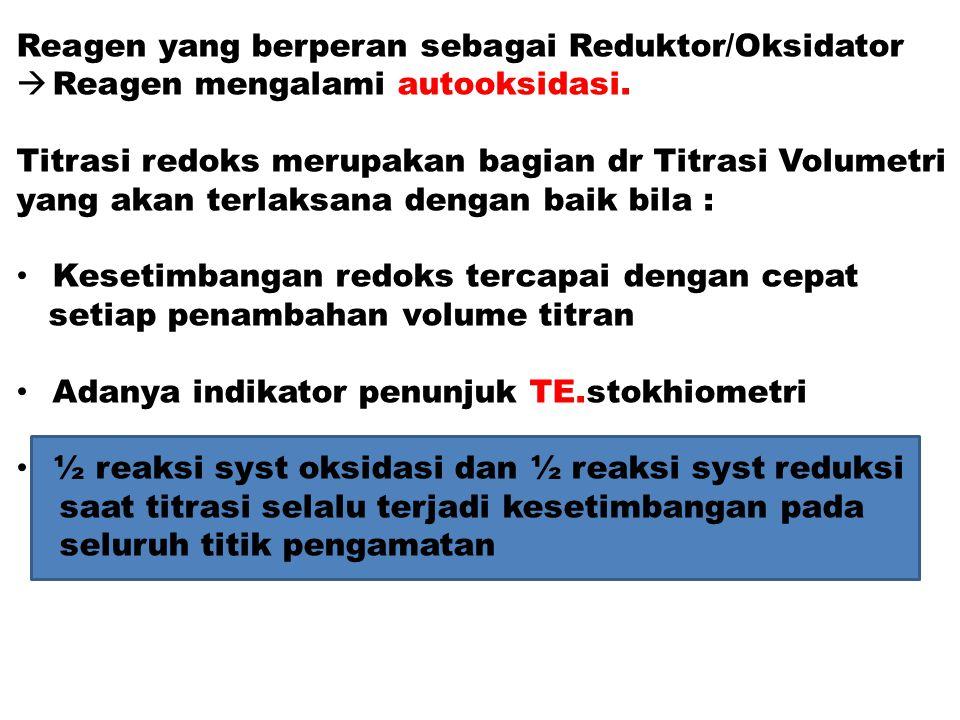 Reagen yang berperan sebagai Reduktor/Oksidator  Reagen mengalami autooksidasi. Titrasi redoks merupakan bagian dr Titrasi Volumetri yang akan terlak