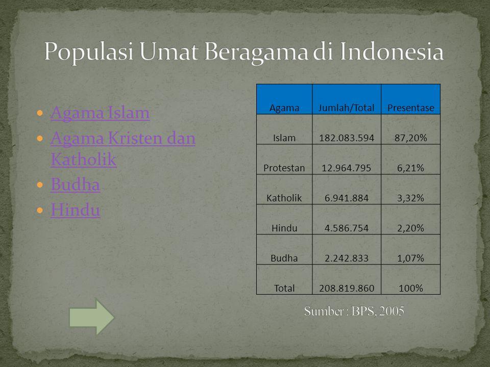 AgamaJumlah/TotalPresentase Islam182.083.59487,20% Protestan12.964.7956,21% Katholik6.941.8843,32% Hindu4.586.7542,20% Budha2.242.8331,07% Total208.81