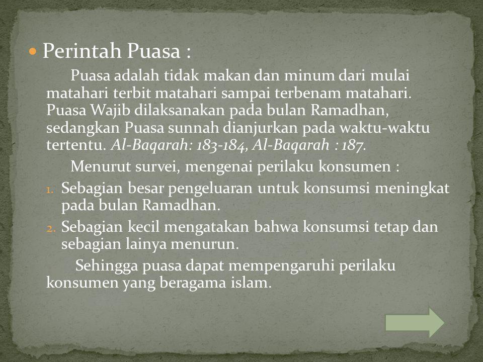Perintah Puasa : Puasa adalah tidak makan dan minum dari mulai matahari terbit matahari sampai terbenam matahari. Puasa Wajib dilaksanakan pada bulan