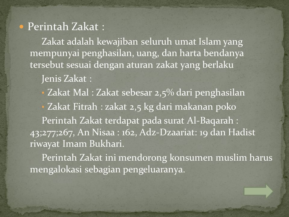 Perintah Zakat : Zakat adalah kewajiban seluruh umat Islam yang mempunyai penghasilan, uang, dan harta bendanya tersebut sesuai dengan aturan zakat ya