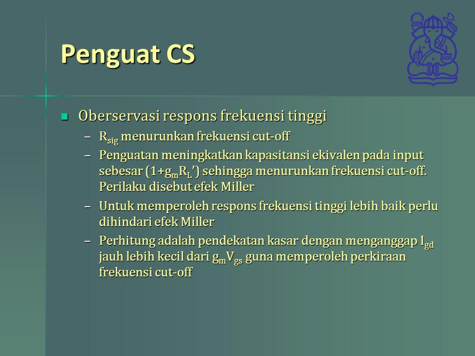 Penguat CS Oberservasi respons frekuensi tinggi Oberservasi respons frekuensi tinggi –R sig menurunkan frekuensi cut-off –Penguatan meningkatkan kapas