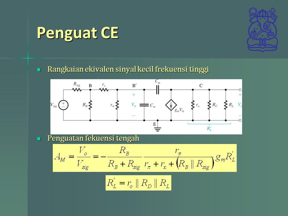 Penguat CE Rangkaian ekivalen sinyal kecil frekuensi tinggi Rangkaian ekivalen sinyal kecil frekuensi tinggi Penguatan fekuensi tengah Penguatan fekue