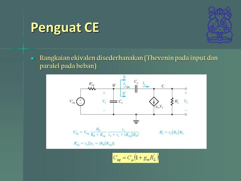 Penguat CE Rangkaian ekivalen disederhanakan (Thevenin pada input dan paralel pada beban) Rangkaian ekivalen disederhanakan (Thevenin pada input dan p