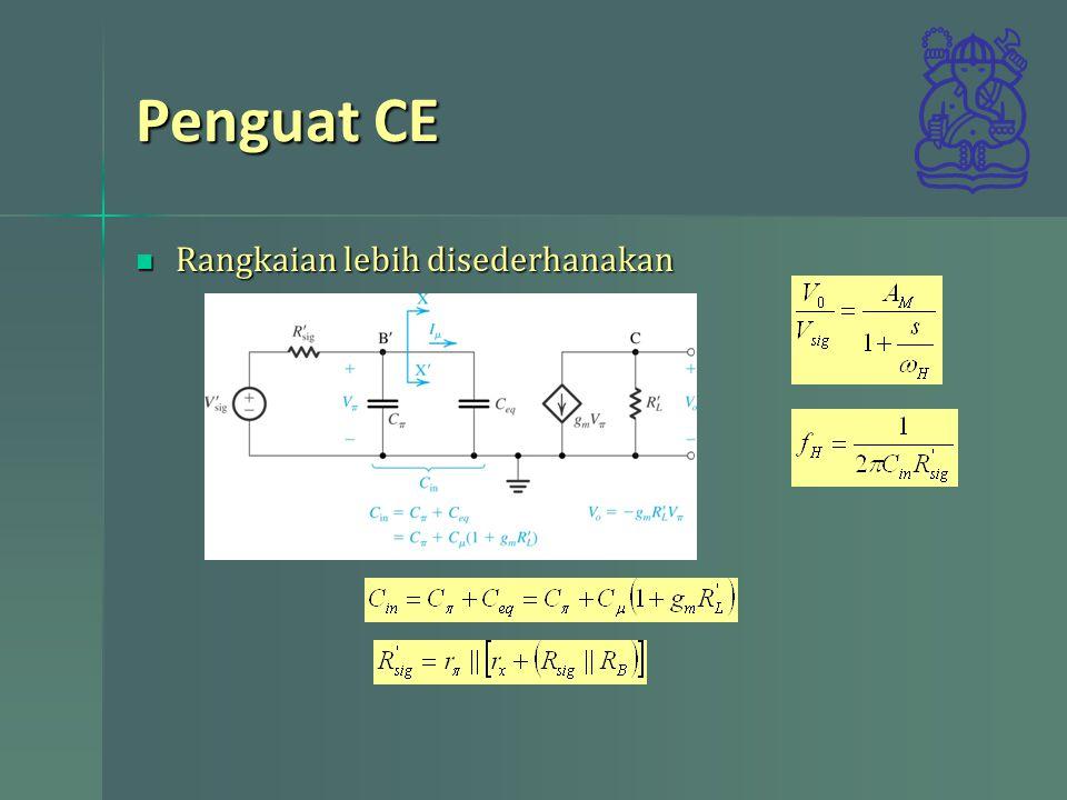 Penguat CE Rangkaian lebih disederhanakan Rangkaian lebih disederhanakan