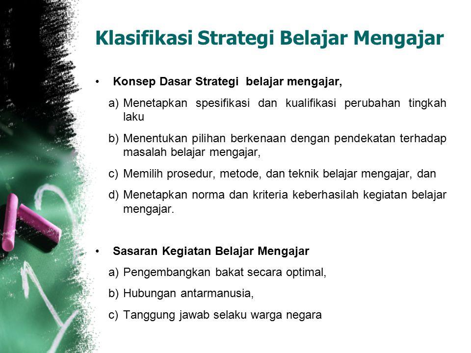 Konsep Dasar Strategi belajar mengajar, a)Menetapkan spesifikasi dan kualifikasi perubahan tingkah laku b)Menentukan pilihan berkenaan dengan pendekat