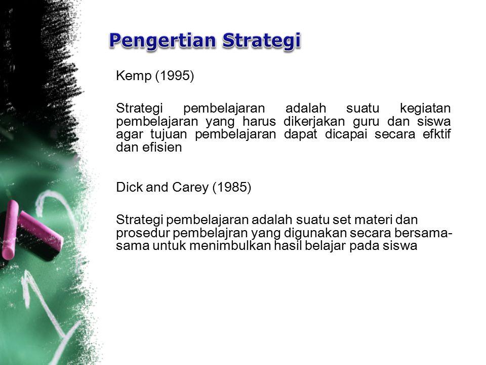 Kemp (1995) Strategi pembelajaran adalah suatu kegiatan pembelajaran yang harus dikerjakan guru dan siswa agar tujuan pembelajaran dapat dicapai secar