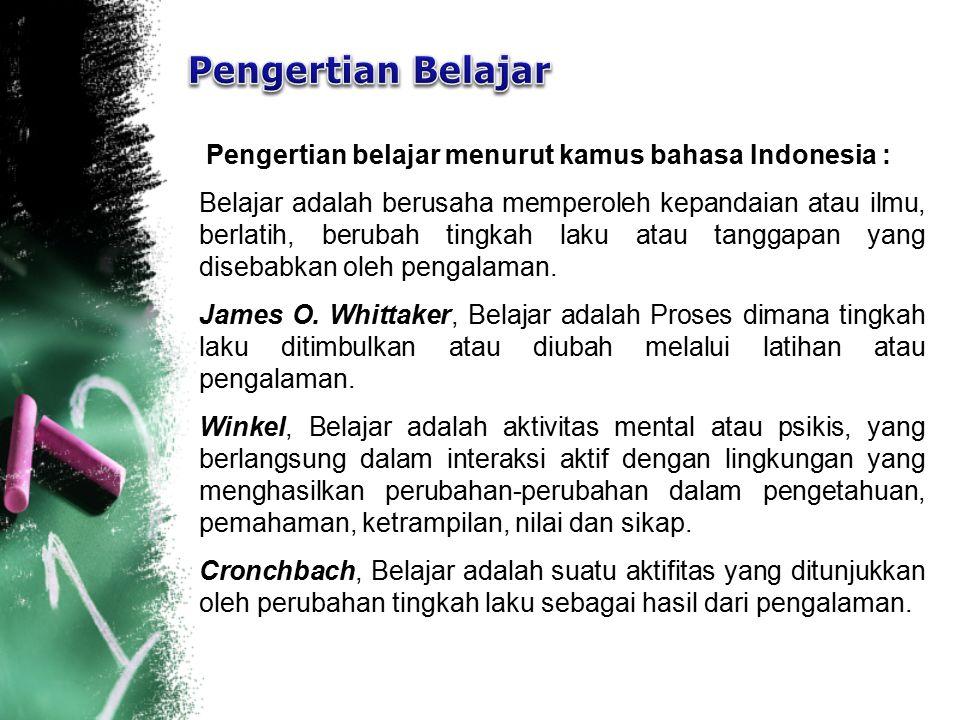 Pengertian belajar menurut kamus bahasa Indonesia : Belajar adalah berusaha memperoleh kepandaian atau ilmu, berlatih, berubah tingkah laku atau tangg