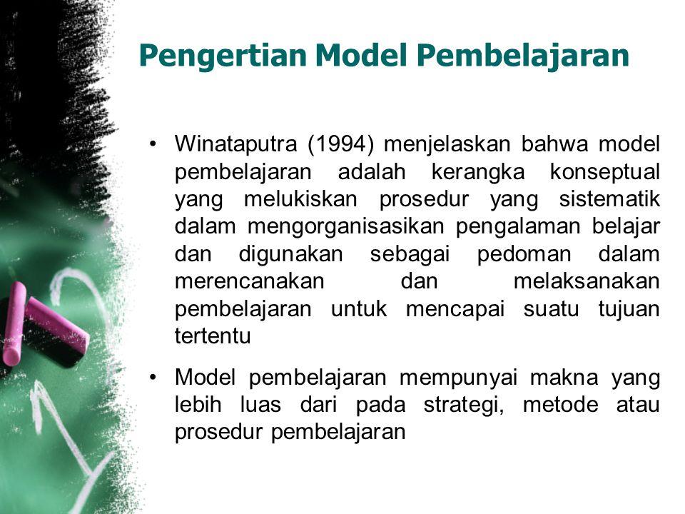 Pengertian Model Pembelajaran Winataputra (1994) menjelaskan bahwa model pembelajaran adalah kerangka konseptual yang melukiskan prosedur yang sistema