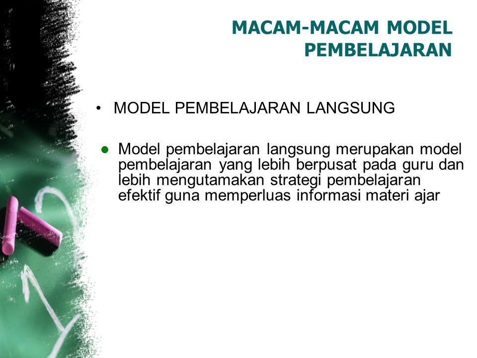MACAM-MACAM MODEL PEMBELAJARAN MODEL PEMBELAJARAN LANGSUNG Model pembelajaran langsung merupakan model pembelajaran yang lebih berpusat pada guru dan