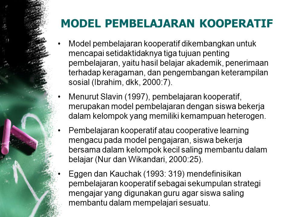 MODEL PEMBELAJARAN KOOPERATIF Model pembelajaran kooperatif dikembangkan untuk mencapai setidaktidaknya tiga tujuan penting pembelajaran, yaitu hasil