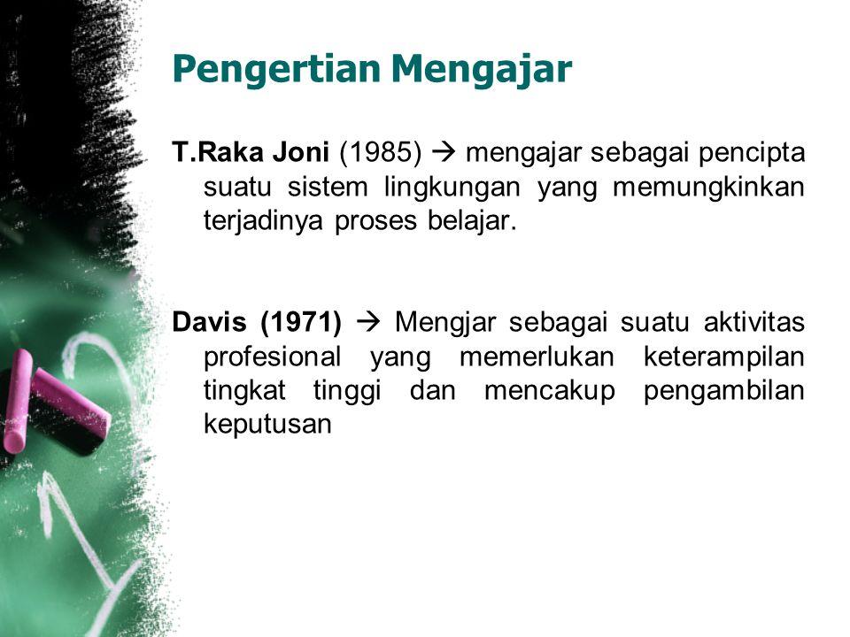 Pengertian Mengajar T.Raka Joni (1985)  mengajar sebagai pencipta suatu sistem lingkungan yang memungkinkan terjadinya proses belajar. Davis (1971) 