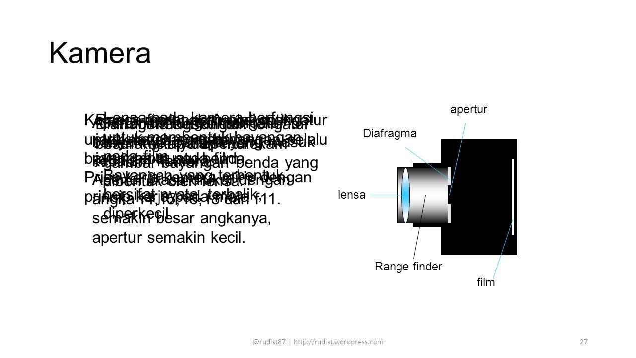 Kamera lensa Diafragma film apertur Range finder Lensa pada kamera berfungsi untuk membentuk bayangan pada film Bayangan yang terbentuk bersifat nyata