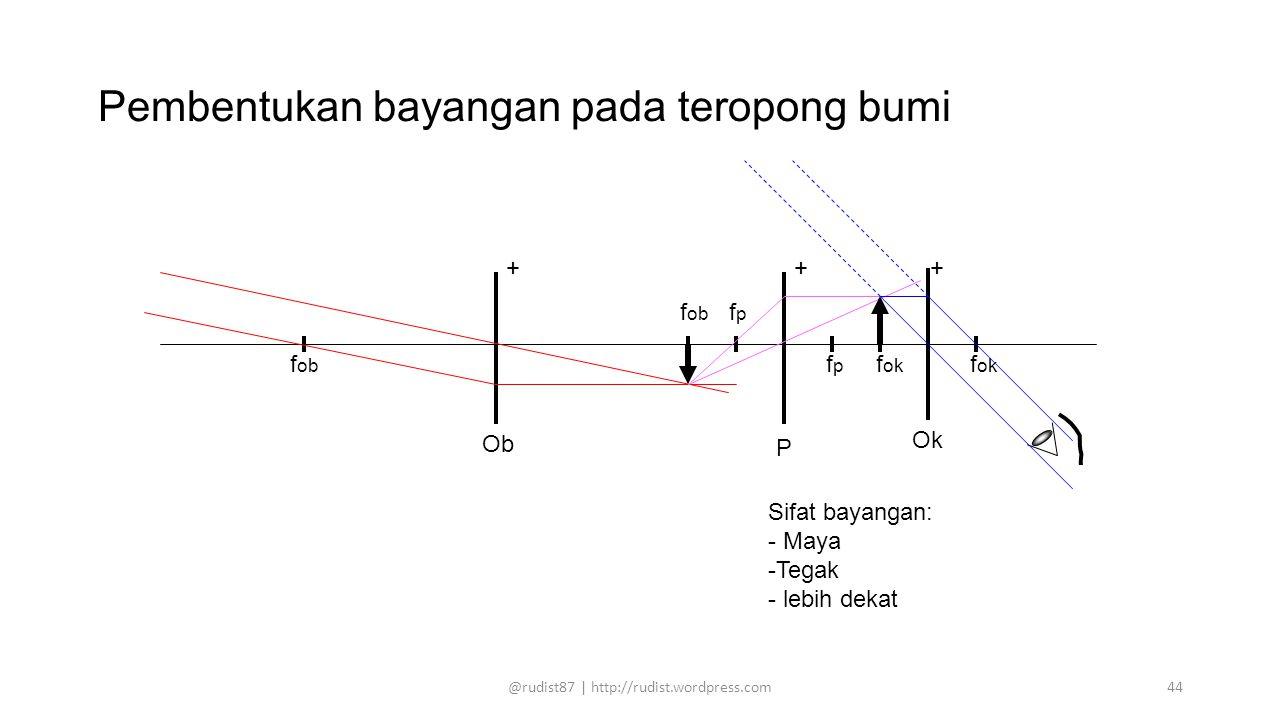 Pembentukan bayangan pada teropong bumi f ob f p f ok f ok Sifat bayangan: - Maya -Tegak - lebih dekat ++ Ob Ok f ob f p + P @rudist87 | http://rudist