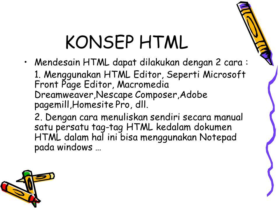 KONSEP HTML Mendesain HTML dapat dilakukan dengan 2 cara : 1. Menggunakan HTML Editor, Seperti Microsoft Front Page Editor, Macromedia Dreamweaver,Nes