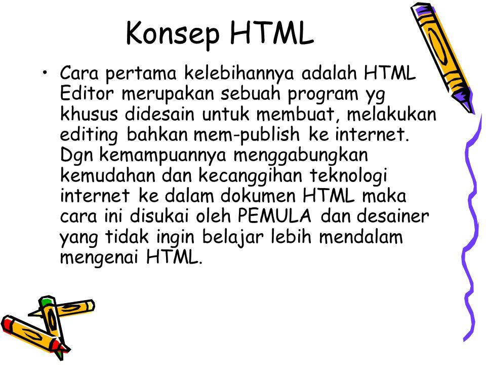 Konsep HTML Cara pertama kelebihannya adalah HTML Editor merupakan sebuah program yg khusus didesain untuk membuat, melakukan editing bahkan mem-publi