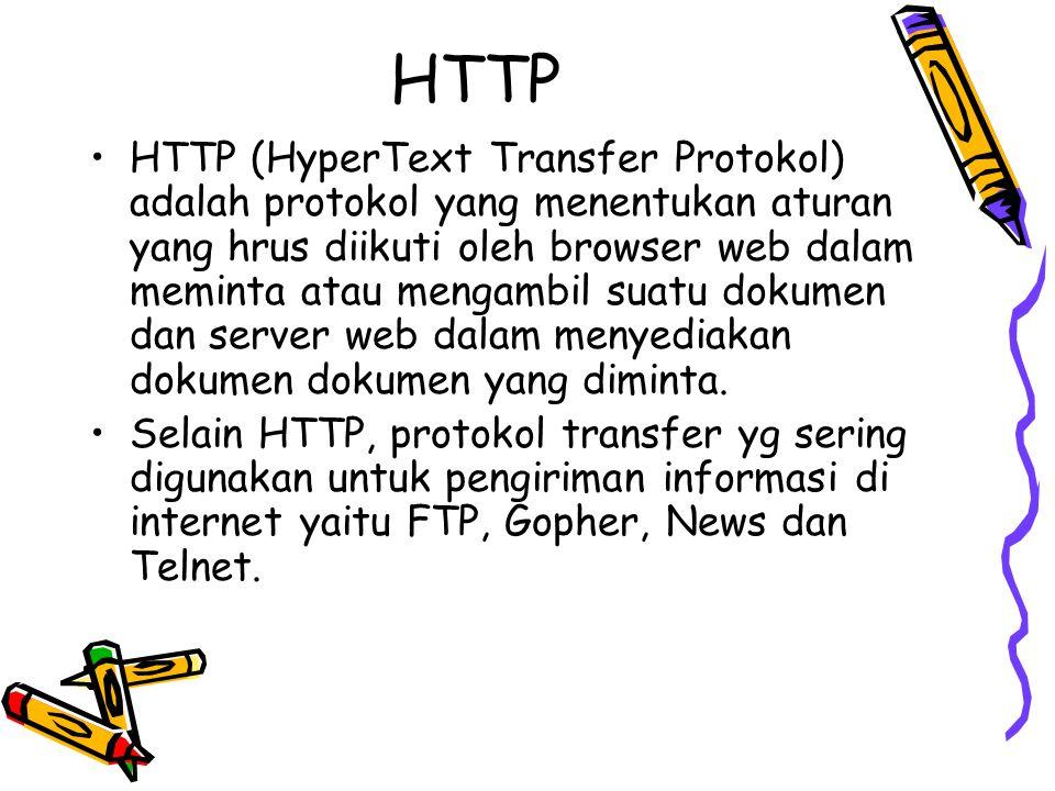 HTTP HTTP (HyperText Transfer Protokol) adalah protokol yang menentukan aturan yang hrus diikuti oleh browser web dalam meminta atau mengambil suatu d