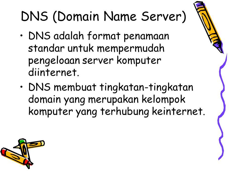 DNS (Domain Name Server) DNS adalah format penamaan standar untuk mempermudah pengeloaan server komputer diinternet. DNS membuat tingkatan-tingkatan d