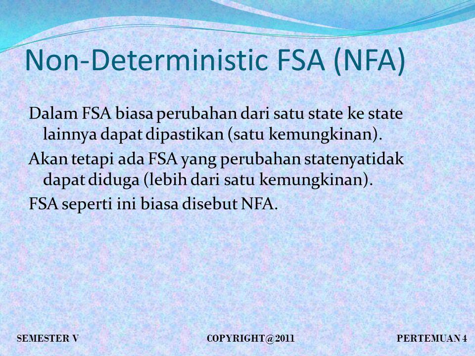 Non-Deterministic FSA (NFA) Dalam FSA biasa perubahan dari satu state ke state lainnya dapat dipastikan (satu kemungkinan).