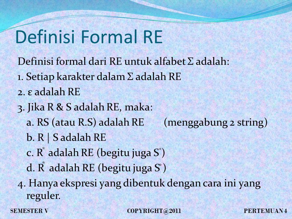 Definisi Formal RE Definisi formal dari RE untuk alfabet Σ adalah: 1.