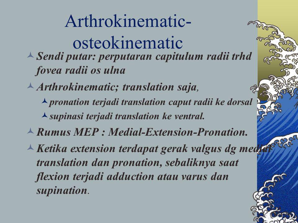 Arthrokinematic- osteokinematic Sendi putar: perputaran capitulum radii trhd fovea radii os ulna Arthrokinematic; translation saja, pronation terjadi