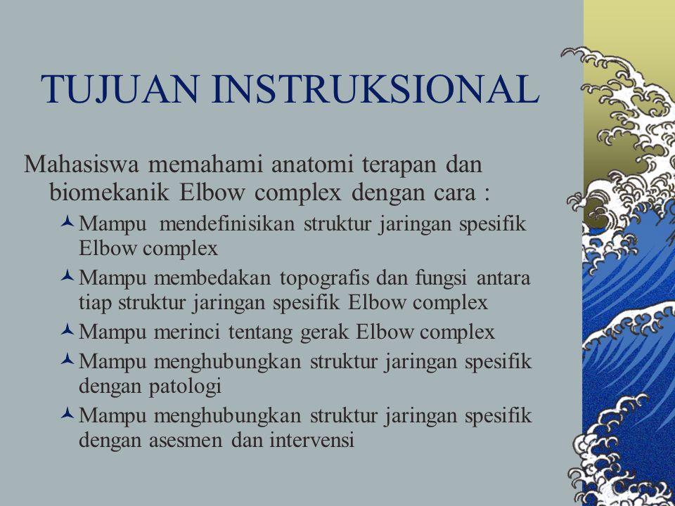 TUJUAN INSTRUKSIONAL Mahasiswa memahami anatomi terapan dan biomekanik Elbow complex dengan cara : Mampu mendefinisikan struktur jaringan spesifik Elb