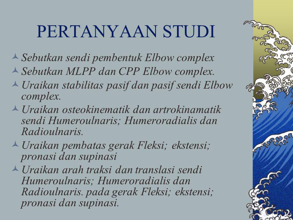 PERTANYAAN STUDI Sebutkan sendi pembentuk Elbow complex Sebutkan MLPP dan CPP Elbow complex. Uraikan stabilitas pasif dan pasif sendi Elbow complex. U