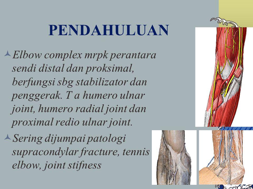 PENDAHULUAN Elbow complex mrpk perantara sendi distal dan proksimal, berfungsi sbg stabilizator dan penggerak. T a humero ulnar joint, humero radial j