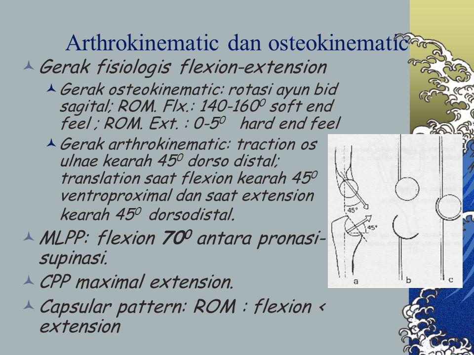 Arthrokinematic dan osteokinematic Gerak fisiologis flexion-extension Gerak osteokinematic: rotasi ayun bid sagital; ROM. Flx.: 140-160 0 soft end fee