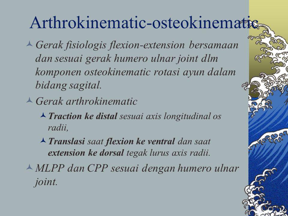 Arthrokinematic-osteokinematic Gerak fisiologis flexion-extension bersamaan dan sesuai gerak humero ulnar joint dlm komponen osteokinematic rotasi ayu