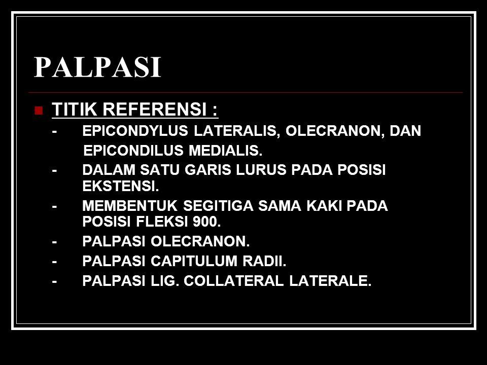 PALPASI TITIK REFERENSI : -EPICONDYLUS LATERALIS, OLECRANON, DAN EPICONDILUS MEDIALIS.