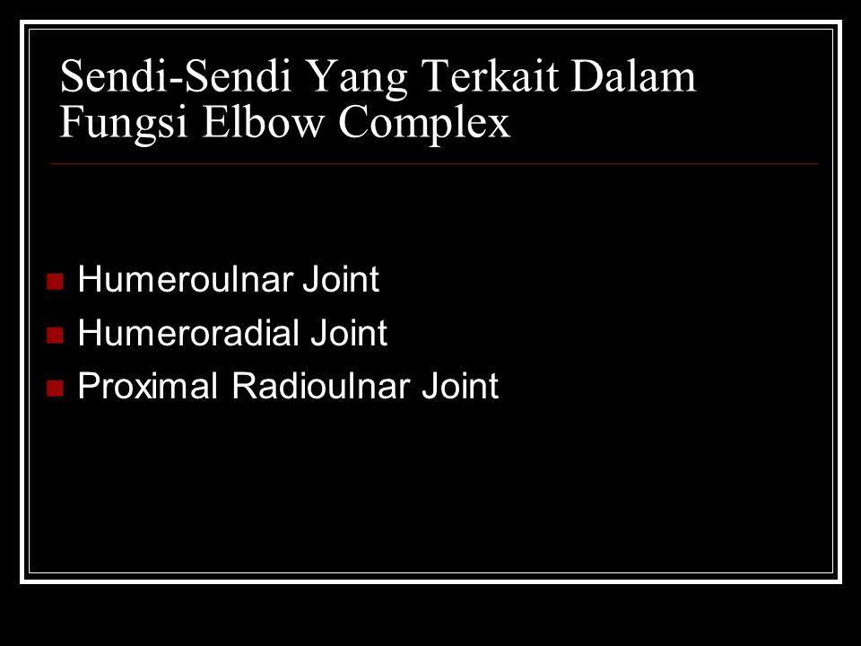 Sendi-Sendi Yang Terkait Dalam Fungsi Elbow Complex Humeroulnar Joint Humeroradial Joint Proximal Radioulnar Joint