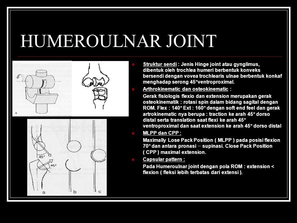 HUMEROULNAR JOINT Struktur sendi : Jenis Hinge joint atau gynglimus, dibentuk oleh trochlea humeri berbentuk konveks bersendi dengan vovea trochlearis ulnae berbentuk konkaf menghadap serong 45°ventroproximal.