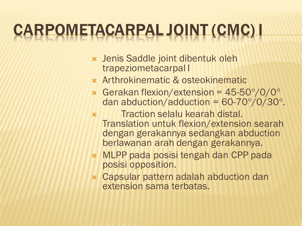  Jenis Saddle joint dibentuk oleh trapeziometacarpal I  Arthrokinematic & osteokinematic  Gerakan flexion/extension = 45-50  /0/0  dan abduction/adduction = 60-70  /0/30 .