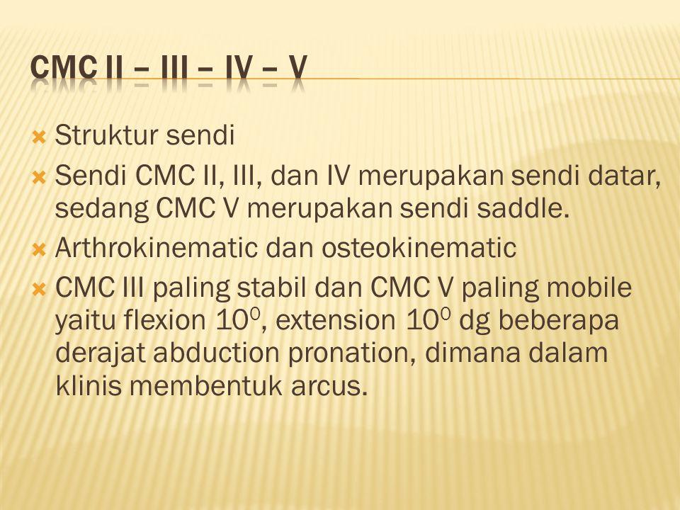  Struktur sendi  Sendi CMC II, III, dan IV merupakan sendi datar, sedang CMC V merupakan sendi saddle.