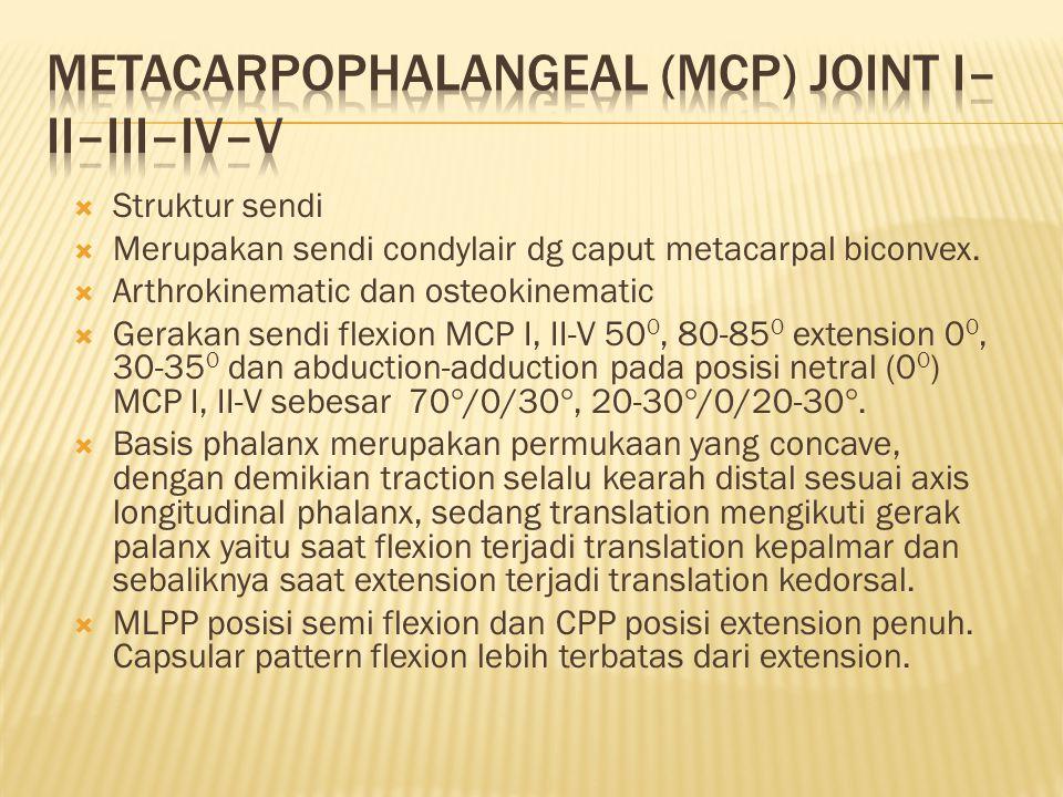  Struktur sendi  Merupakan sendi condylair dg caput metacarpal biconvex.