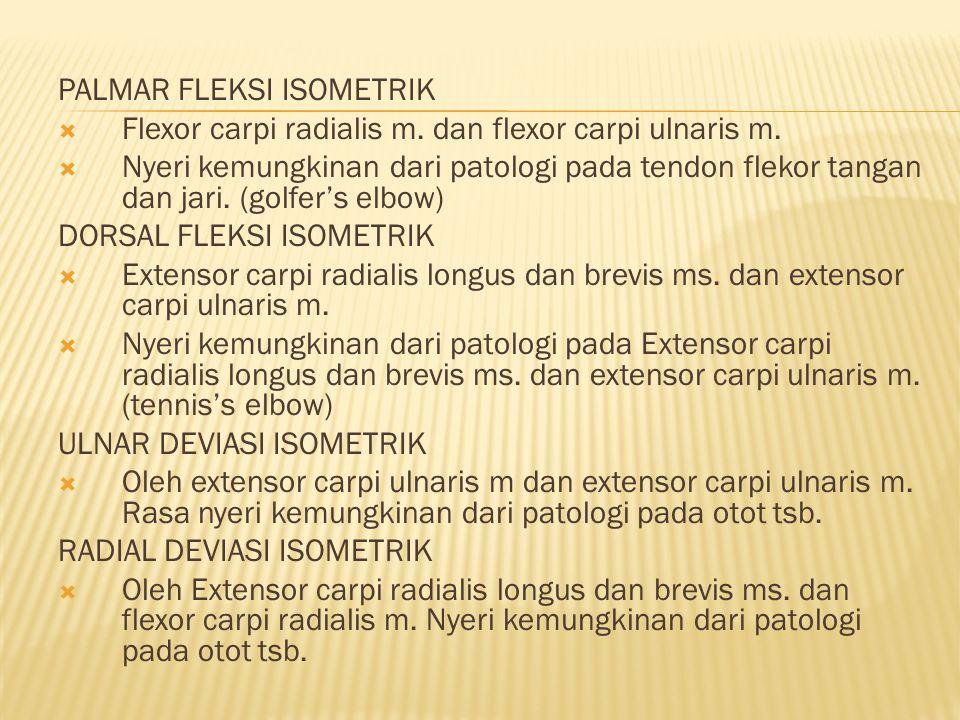 PALMAR FLEKSI ISOMETRIK  Flexor carpi radialis m.