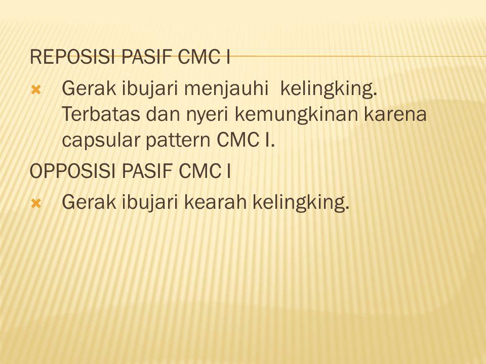 REPOSISI PASIF CMC I  Gerak ibujari menjauhi kelingking.