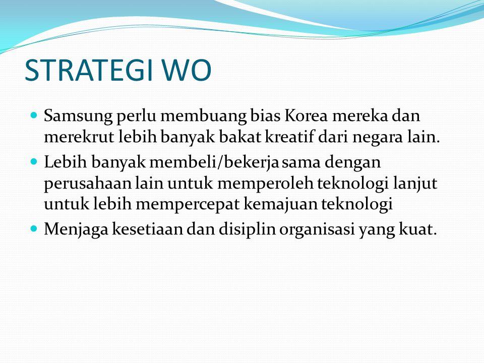 STRATEGI WO Samsung perlu membuang bias Korea mereka dan merekrut lebih banyak bakat kreatif dari negara lain. Lebih banyak membeli/bekerja sama denga