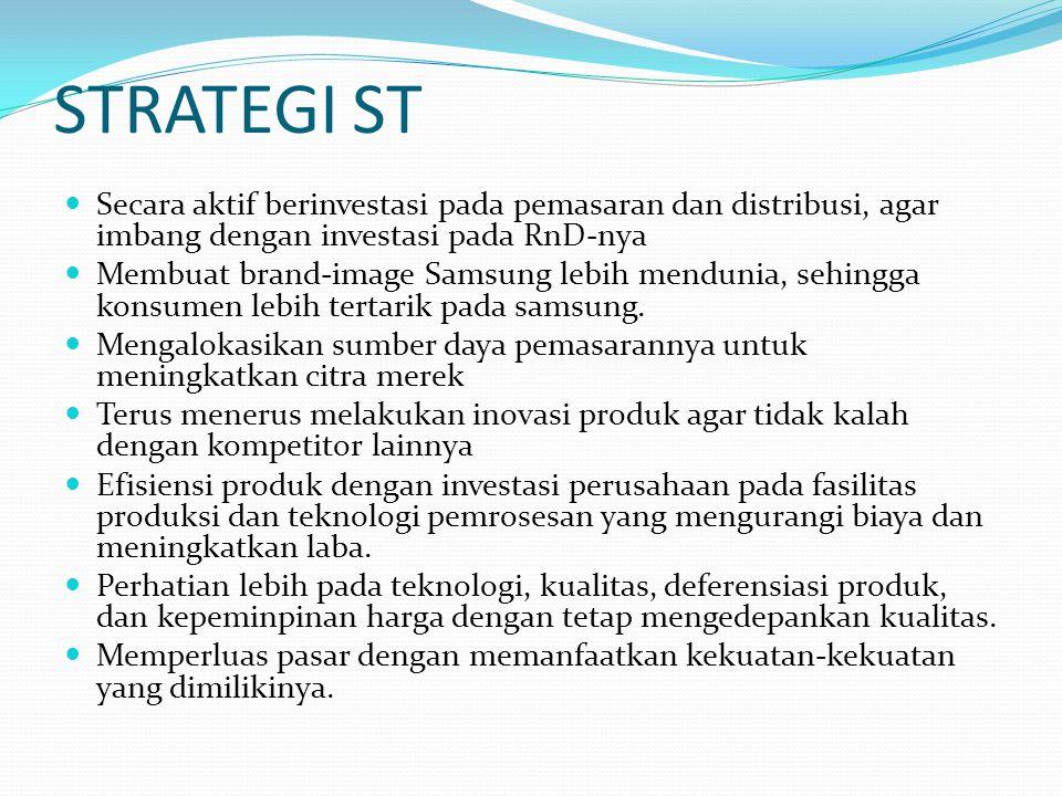STRATEGI ST Secara aktif berinvestasi pada pemasaran dan distribusi, agar imbang dengan investasi pada RnD-nya Membuat brand-image Samsung lebih mendu