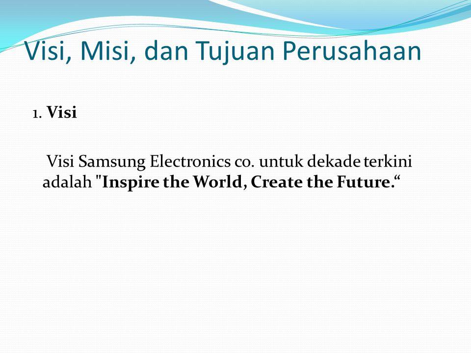 Visi, Misi, dan Tujuan Perusahaan 1. Visi Visi Samsung Electronics co. untuk dekade terkini adalah