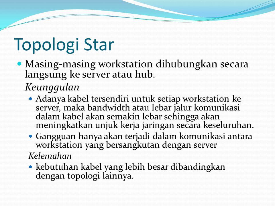 Topologi Star Masing-masing workstation dihubungkan secara langsung ke server atau hub. Keunggulan Adanya kabel tersendiri untuk setiap workstation ke