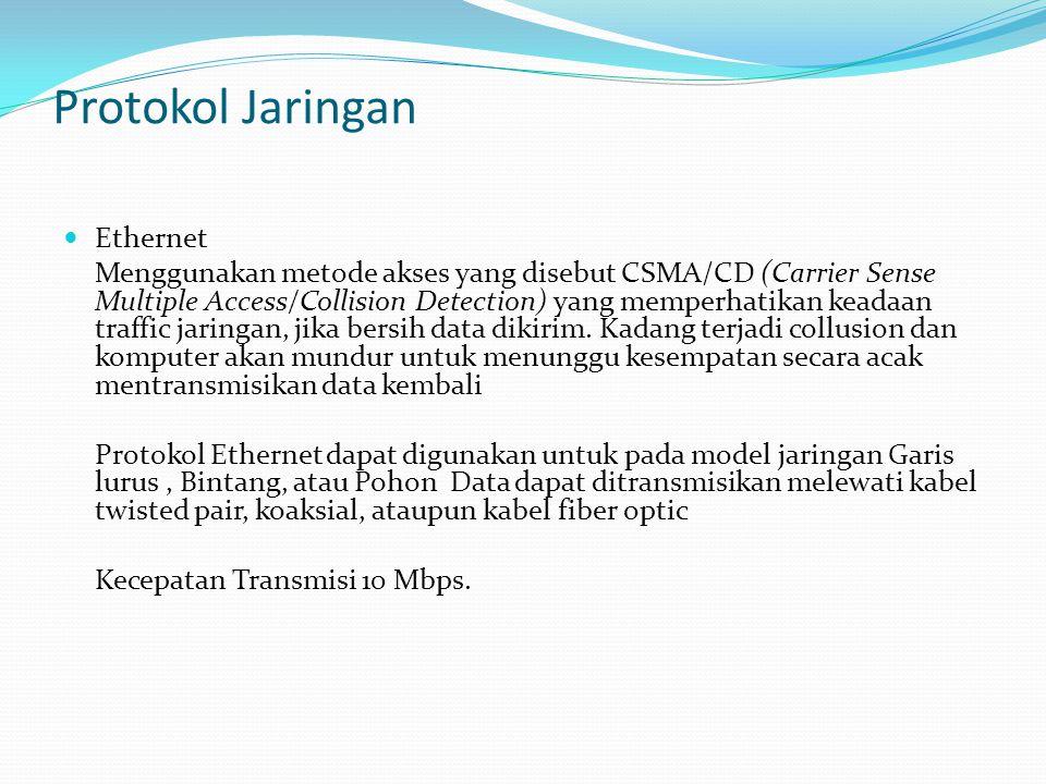 Protokol Jaringan Ethernet Menggunakan metode akses yang disebut CSMA/CD (Carrier Sense Multiple Access/Collision Detection) yang memperhatikan keadaa
