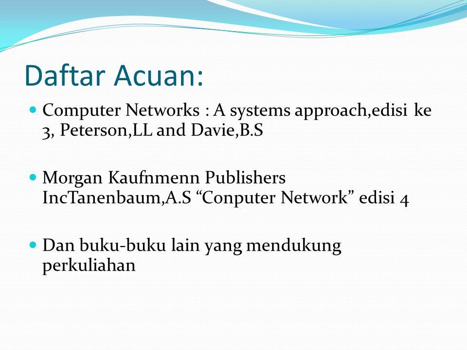 "Daftar Acuan: Computer Networks : A systems approach,edisi ke 3, Peterson,LL and Davie,B.S Morgan Kaufnmenn Publishers IncTanenbaum,A.S ""Conputer Netw"